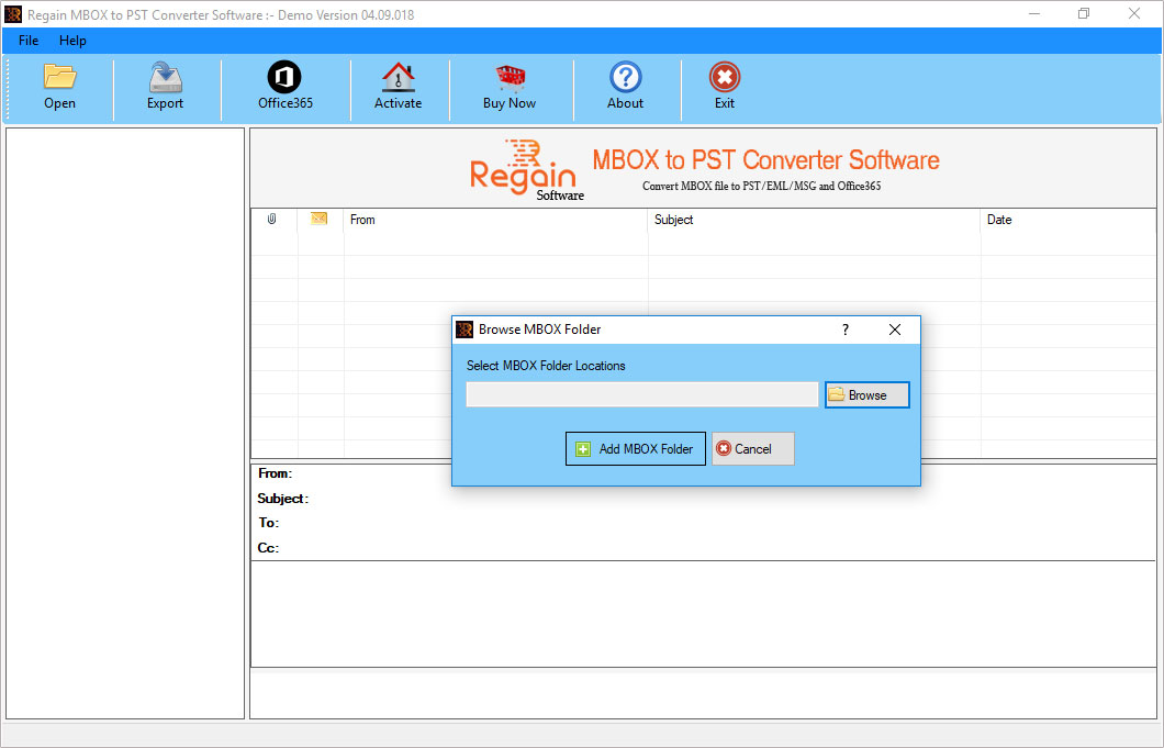 Convert MBOX to PST Software - Home Screen